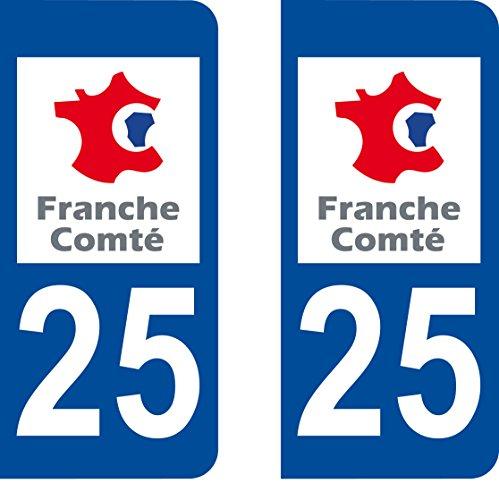 Aufkleber für Nummernschild, Département 25 Doubs, abgerundete Ecken, 2 Stück