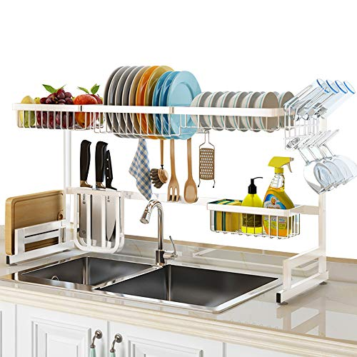 """SLENPET Over The Sink Dish Drying Rack Adjustable 33""""- 41"""" Large Dish Drainer Kitchen Supplies Shelf with Utensil Holder and 5 Hooks Sturdy Stainless Steel Space Save Rack for Counter Storage"""