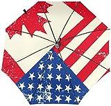 Paraguas automático de tres pliegues con la bandera canadiense de los Estados Unidos de Canadá con impresión interior