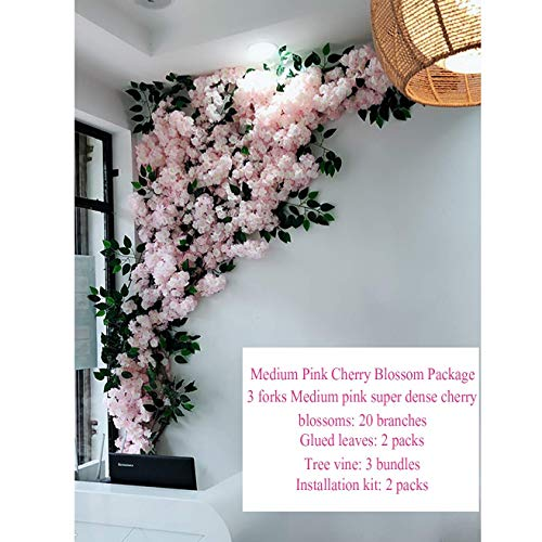 Home garden decoration, Artificial Cherry Blossoms Handmade Flower Indoor Outdoor Home Party Wedding Wall Home Decor Fake Vines Flowers,B