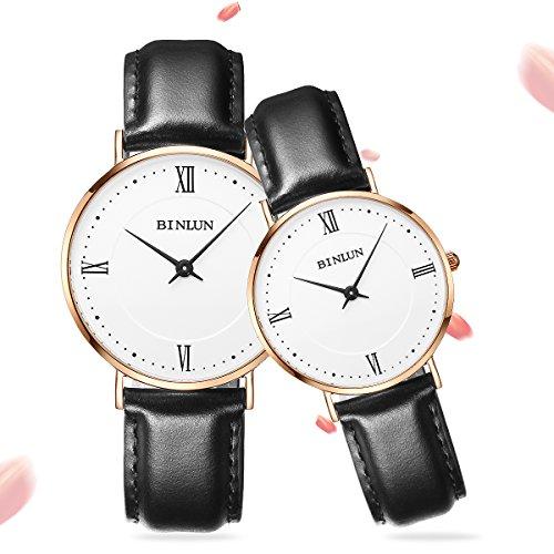 BINLUN Relojes Mujer Hombre Reloj de Pulsera Impermeable de Cuarzo con Pantalla Analógica con Correa de Reloj Cuero Auténtica Negro Reloj de Pulsera Pareja Elegante de Moda