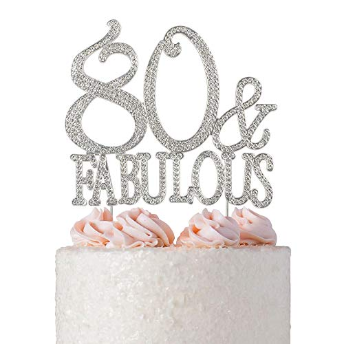 80 & Fabulous Rhinestone Cake Topper | Premium Bling Sparkly Crystal Diamond Gems | 80th Birthday Decoration Ideas | Perfect Keepsake (80&Fab Silver)