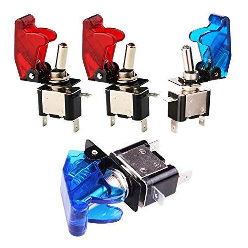 GTIWUNG 4 Pcs Interruptor de Palanca SPST, Conmutador de Palanca con Luz LED Rojo/Azul, Interruptor Basculantes 12V 20A con Tapa de Colores para Vehiculo, Barco ect