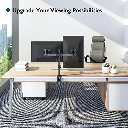 BONTEC Monitor Halterung 2 Monitore 15-27 Zoll Schwenkbar Neigbar Höhenverstellbar Monitor Schreibtisch Monitorhalterung Tisch Ständer Monitorständer Ergonomische – 8kg VESA 75/100 Schwarz