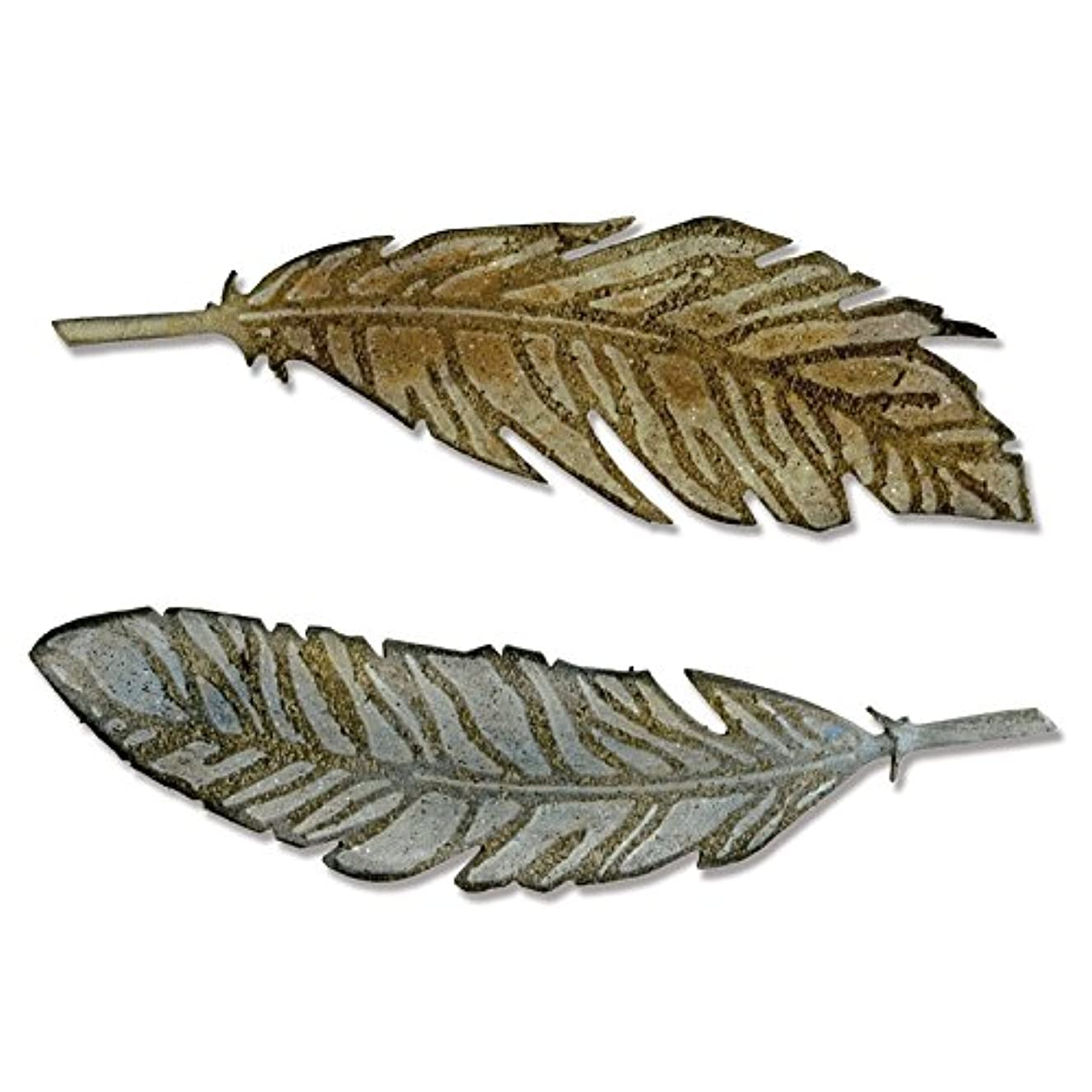 Sizzix 660237 Bigz Die with Texture Fades Feather Duo by Tim Holtz