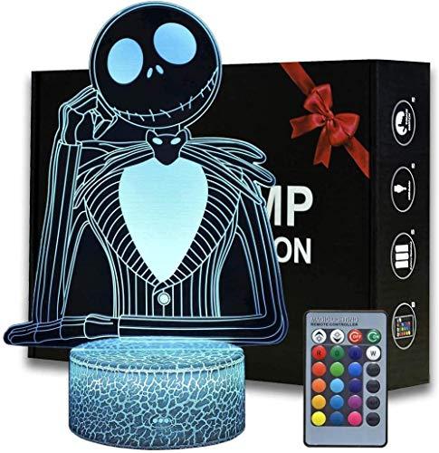 Lámpara 3D Ilusión 3D Luz nocturna Jack Skellington Touch Lámpara de escritorio para dormitorio de niños, cargador USB Bonitos regalos para cumpleaños, Navidad, día de San Valentín