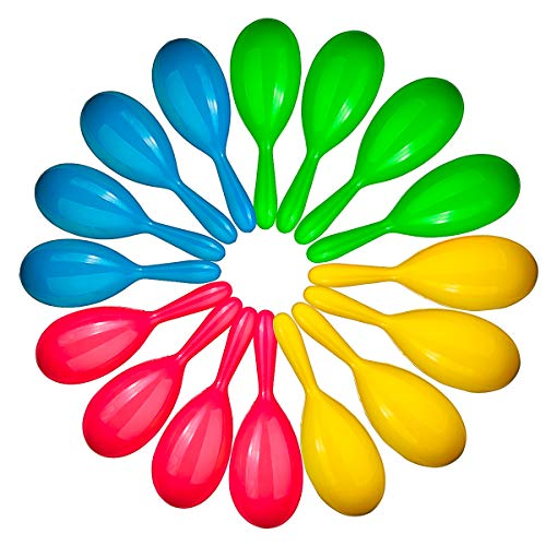 Add Life To The Party! 24 Neon Maracas, Adorable Party Favors, Noisemaker For Birthday Parties, 4 Neon Maracas - For Mexican Fiesta, Luau Party, Or Classroom Musical Fun (1 Dz Pairs)