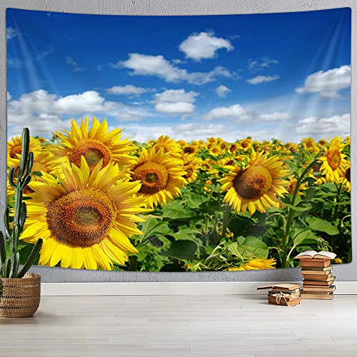 KOTOM Tapiz floral de campo, girasol de flores florecientes en un fondo de cielo azul, mantas para colgar en la pared, decoración del hogar para recámara, sala de estar, recámara, 152,4 x 101,6 cm
