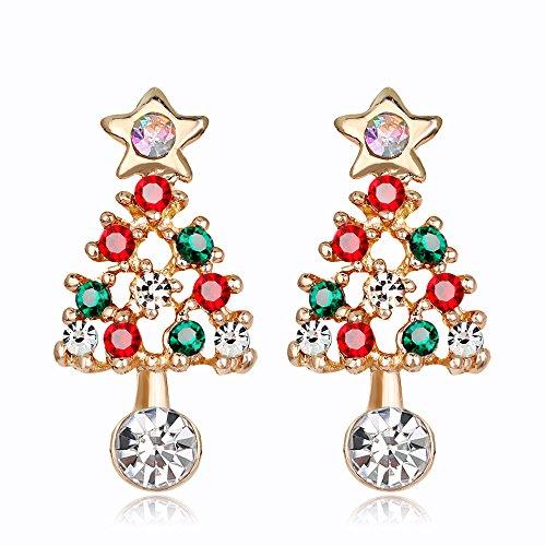 Kercisbeauty - Pendientes de árbol de Navidad con piedras preciosas verdes y rojas y estrella de cristal