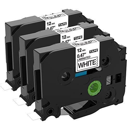 Unistar Kompatibel Schriftband als Ersatz für Brother P-Touch Bänder TZe 12mm 0.47 TZe-231 TZe231 AZe-231 Schriftband für PTouch D200 H100R H105 H101C D400 1000 1005 1280, Schwarz auf Weiß x 3