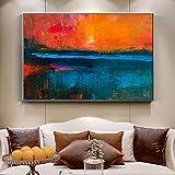 Lienzo Póster e impresiones Naranja y azul Pintura al óleo abstracta Paisaje Arte de la pared Imágenes Imágenes Sala de estar Decoración del hogar 15.7 'x23.6' (40x60cm) Sin marco