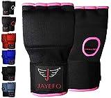 Jayefo Sports Kickboxing Speed Wraps Fast Hand Wraps for Boxing Gloves Inner Insert Fingerless Padded Knuckle Training Krav MAGA Muay Thai MMA Wrist Wraps Rap Men & Women-Pair (Black/Pink, L/X-L)