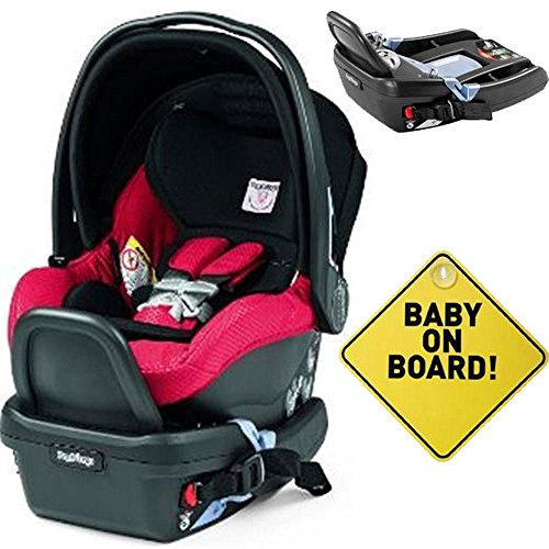 Lowest Prices! Peg Perego - Primo Viaggio 4-35 Mod Red with Base and Baby on Board Sign