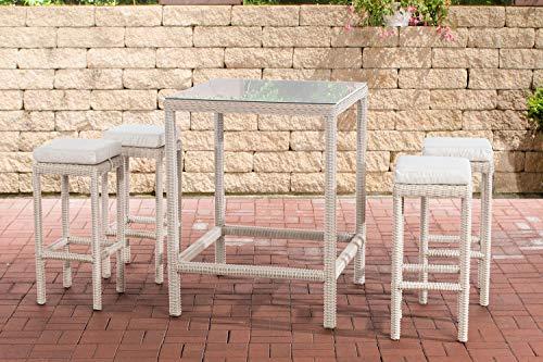 CLP Alia - Juego de muebles de jardín de ratán redondo (5 mm, incluye mesa y 4 taburetes de bar, incluye cojín de asiento, color: blanco perla, color blanco crema