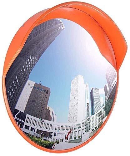 HQY buitenverkeer groothoeklens, veiligheidsspiegel PC-spiegel polycarbonaat-acryl verkeersspiegel oranje buitenverkeer ingangsveiligheid, instelbaar, geschikt voor winkelcentra, garages, kast 60cm
