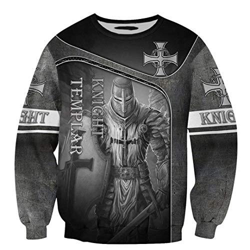 TN-KENSLY Caballeros Templarios Jesús Dios Guardia Cavalier Otoño Pullover Streetwear Impresión 3D Cremallera/Sudaderas Sweatshirts S