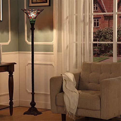 Good thing 14-zoll Tiffany Stehleuchte Bunte Glasmalerei Stehlampe Schlafzimmer Stehleuchte Exquisite Libelle Perlen Muster Lampe