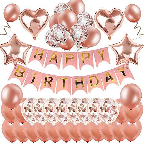 MMTX Geburtstagsdeko Rosegold, Happy Birthday Girlande Ballons Banner Buchstaben Folienballon Rosegold,Geburtstag Rose Deko mit Rosa Gold Ballons Konfetti Luftballons für Mädchen Freundin Tochter