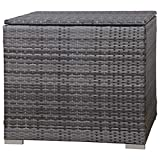 SVITA Kissenbox 75x75x64 cm für Polyrattan Lounge Lugano/California Ergänzung Rattan Braun Grau oder Schwarz (Grau)