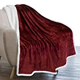 PAVILIA Plush Sherpa Fleece Throw Blanket Burgundy Red | Soft, Warm, Fuzzy Wine Maroon Throw for Couch Sofa | Solid Reversible Cozy Microfiber Fluffy Blanket, 50x60