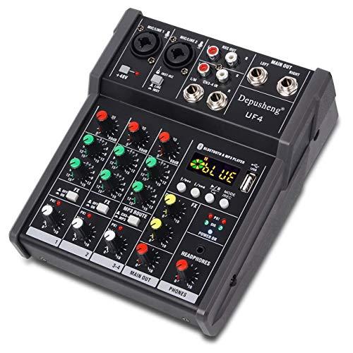 Depusheng UF4 Portable Audio Mixer Karaoke Players Bluetooth USB DJ Sound Mixing Console 4-Channel Audio Mixer MP3 Jack 48V Amplifier for ComputerRecording,Bands