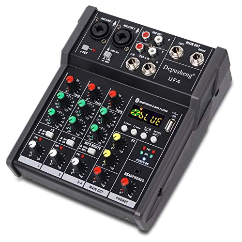 Depusheng 4 Channel Portable Audio Mixer Karaoke Players Bluetooth USB DJ Sound Mixing Console MP3 Jack 48V Amplifier for Computer Recording, Bands