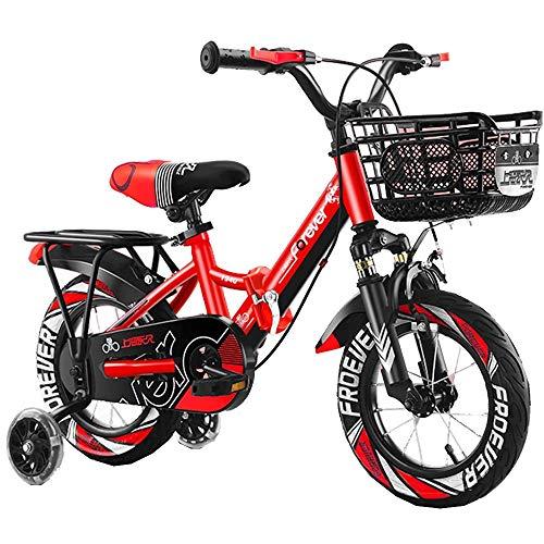 HUAQINEI Bicicleta para niños al Aire Libre, 12,14 Pulgadas, para niños y niñas de 2 a 5 años Bicicleta de montaña Ajustable para niños, Naranja, Azul, Rojo
