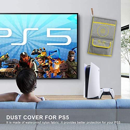 Anti-Staub-Abdeckung für PS5,Schutzhülle für Sony Playstation 5,Anti Scratch Wasserdicht,Unterstützung für PS5, Controller und 12 Game Discs (Gelb)