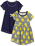 Touched by Nature Girls, Toddler, Baby and Womens Organic Cotton Short-Sleeve and Long-Sleeve Dresses, Lemons Short Sleeve, 7 Years