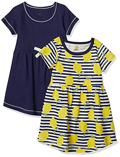 Touched by Nature Girls, Toddler, Baby and Womens Organic Cotton Short-Sleeve and Long-Sleeve Dresses, Lemons Short Sleeve, 3 Toddler