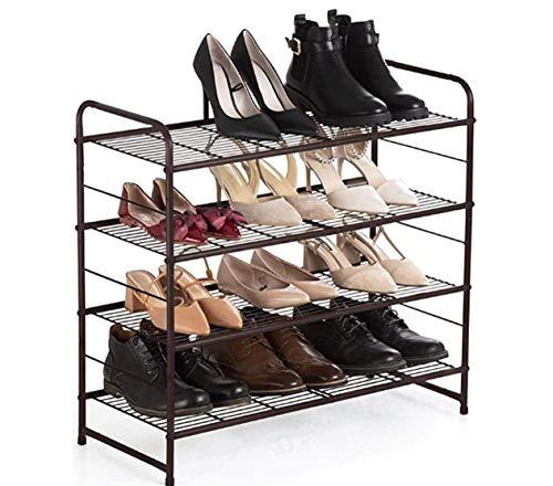 Scarpiera a 4 ripiani organizer per scarpe, per 12-16 paia di scarpe, per soggiorno, guardaroba, ingresso (bronzo)