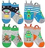 Ez Sox Toddler Socks Easy Pull Up Loops, 5-9 yrs, Aliens-robots