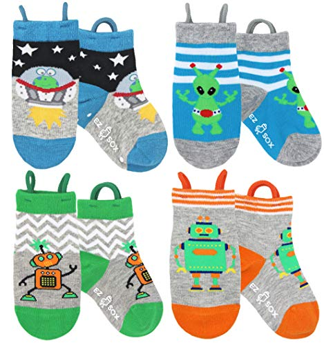 Ez Sox Jungen und Mädchen Kleinkind Socken, nahtlose Zehen, rutschfeste, Pull-up-Schleifen (Aliens-robots, 3-5 Jahre)