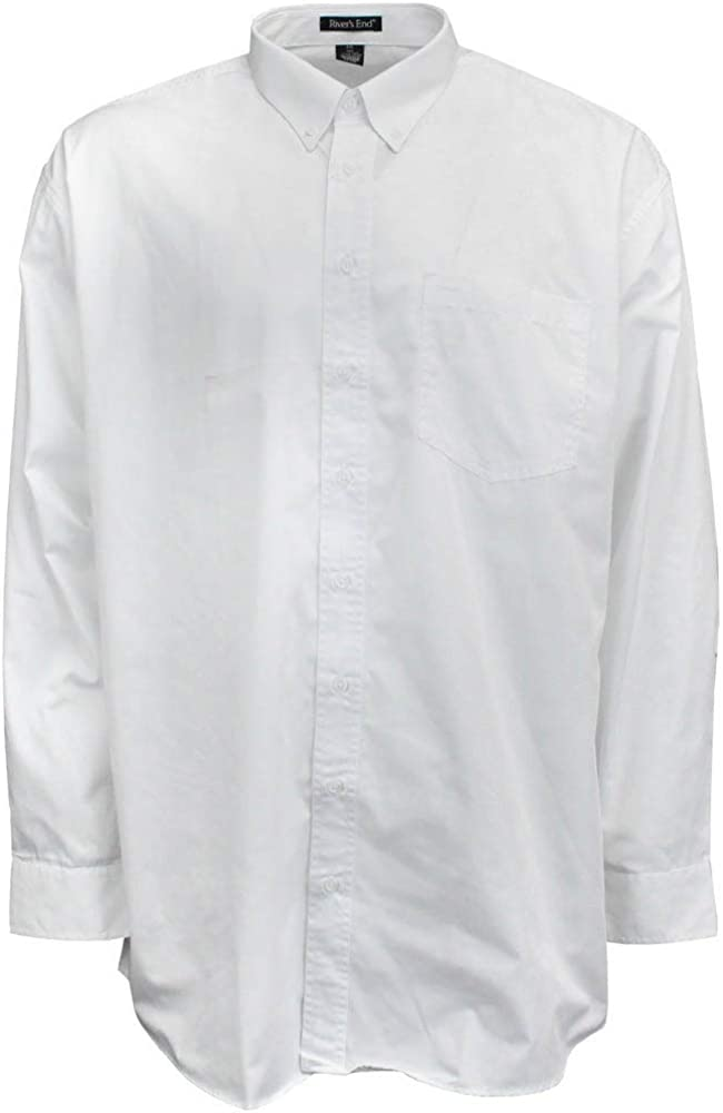 Rivers' End Mens Ezcare Woven Shirt Top Casual - White