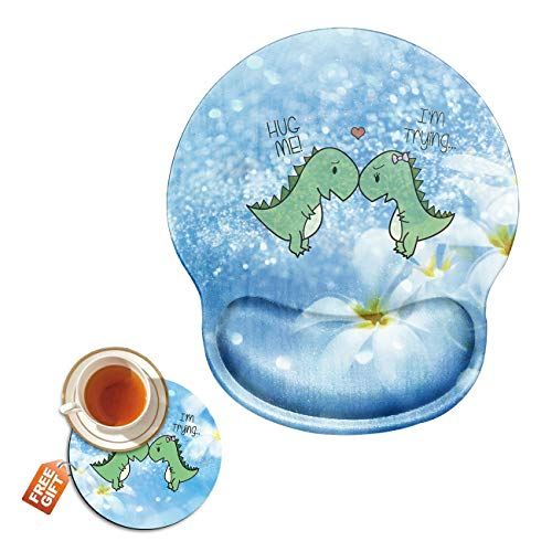 Mouse Pad with Wrist Support Gel Ergonomic Gaming Mousepad with Wrist Rest for Laptop Computer Home Office Working Glitter Little Dinosaur Mouse Mat + A Cute Coffee Pad