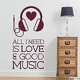 Supersticki® All I need is Love & good music 40 x 80 - Adhesivo de pared para todas las superficies lisas, resistente a los rayos UV y a los túneles de lavado, calidad profesional