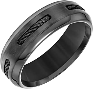 Gray or Black Cobalt Wedding Band with 5 Black Titanium Channels and Beveled Edges, 7mm