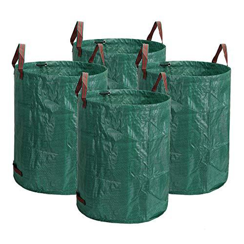 Lawei 4 x 272 L Gartensack Gartenabfallsack Wasserdicht Laubsack Selbststehend Faltbar Reißfest Laubgrasbeutel Wiederverwendbar aus Polypropylen-Gewebe (PP), Grün