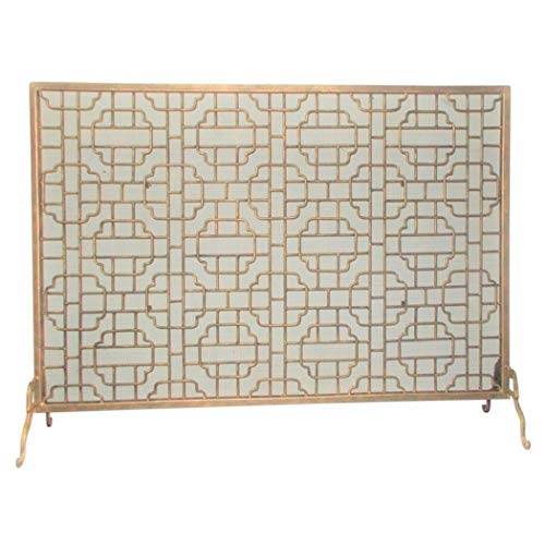 Learn More About MY SWANKY HOME Large Geometric Single Panel Flat Fireplace Screen Grid Pattern Fire...