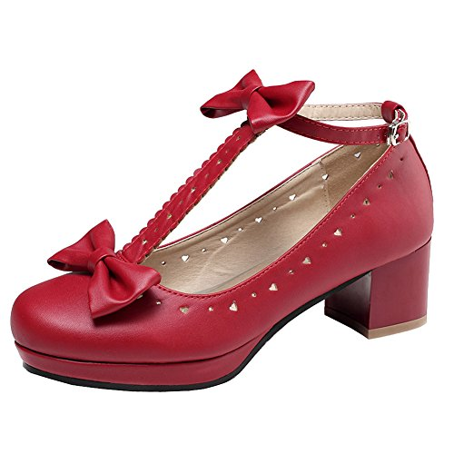 getmorebeauty Women Lolita Shoes Vintage Red Block Heel T-Straps Bows Mary Janes, (US 5, Red)