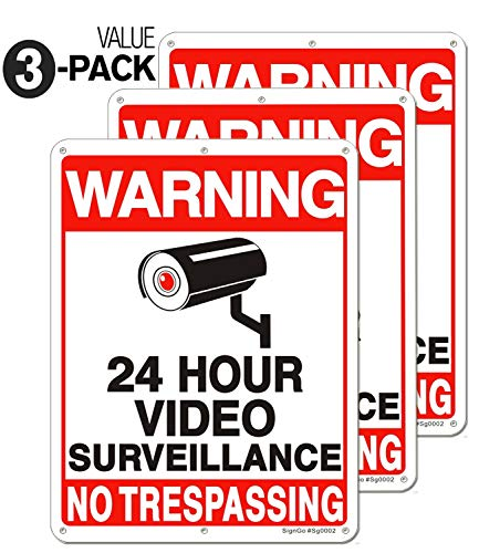 [Enlarged Version] 3 Pack Video Surveillance Sign, 11' x 8' No Trespassing Metal Reflective Warning Sign, 0.40 Aluminum Indoor Outdoor for Home Business CCTV Security Camera,UV Protected & Waterproof