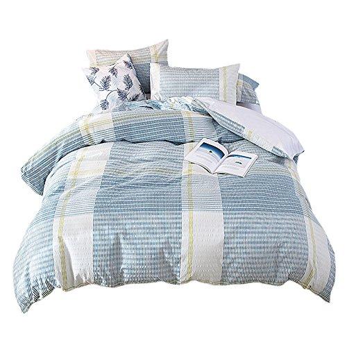 UMI. Essentials Seersucker 100% Cotton Yarn Dyed Duvet Cover Set with One Pillow Case, 135 x 200 cm,