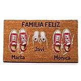 NANNUK - Felpudo Personalizado Fibra de Coco Familia 3 Zapatillas...