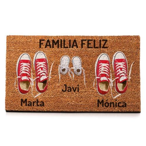 NANNUK - Felpudo Personalizado Fibra de Coco Familia 3 Zapatillas Rojas