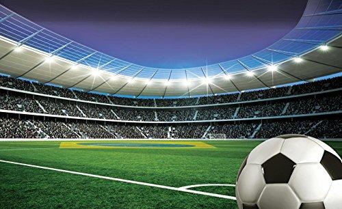 FORWALL Fototapete Vlies - Tapete Moderne Wanddeko Fußball auf Stadion V8 (368cm. x 254cm.) AMF1915V8 Wandtapete Design Tapete Wohnzimmer Schlafzimmer