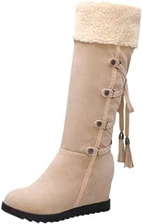 ELEEMEE Women Wedge Heel Height Increase Lace Up Mid Boots