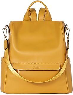 CLUCI Rucksack Damen Leder Mode Diebstahlsicherer Reiserucksack Schultertasche für Frauen 2 in 1 Gelb