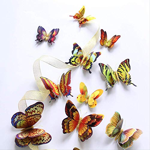 Gold/Silver Double Layer 3D Butterfly Wall Sticker Home Decoration Holographic Butterflies On Wall Magnet Fridge Stickers 12Pcs