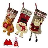 SueH Design Set 3 Pezzi Calza di Natale 48cm | 2 Cappelli di Babbo Natale e 1 Tasca per Caramelle Inclusa