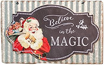CWI Gifts Believe in The Magic Chalkboard and Corrugated Metal Wall Sign, Multicolored